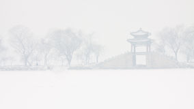 El nevar en el palacio de verano Imagen de archivo libre de regalías