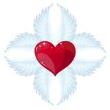 El ángel de la cruz se va volando y un corazón en el centro Fotografía de archivo libre de regalías