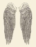 El ángel se va volando el ejemplo, estilo grabado, mano dibujada Foto de archivo