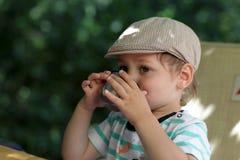 El niño bebe té Fotografía de archivo libre de regalías