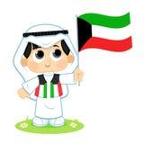 El niño celebra el día nacional de Kuwait ilustración del vector