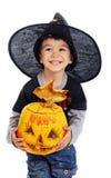 El niño celebra Halloween Fotos de archivo