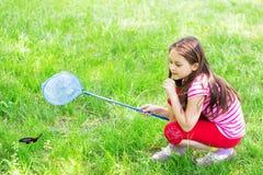 El niño coge una mariposa Imagen de archivo