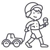 El niño con helado y el coche juegan en la línea icono, muestra, ejemplo del vector de la cuerda en el fondo, movimientos editabl ilustración del vector
