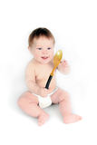 El niño con una cuchara Fotos de archivo libres de regalías