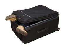 El niño consigue en una maleta Foto de archivo
