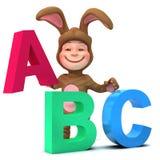 el niño 3d en traje del conejito aprende el alfabeto stock de ilustración