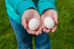 El niño da a explotación agrícola dos huevos fotografía de archivo