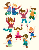 El niño de la historieta salta iconos Imagenes de archivo