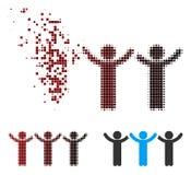 El niño de semitono dañado del pixel da encima de icono de la canción con estribillo stock de ilustración