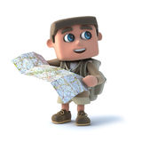 el niño del explorador 3d lee un mapa stock de ilustración