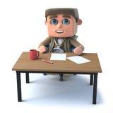 el niño del explorador 3d se sienta en un escritorio Imagenes de archivo