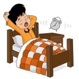 El niño despierta por la mañana stock de ilustración