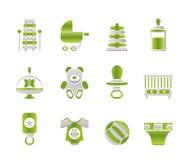 El niño, el bebé y el bebé en línea hacen compras los iconos libre illustration