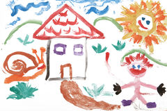 El niño embroma el gráfico de la acuarela de la casa