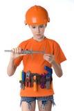 El niño en un casco Imágenes de archivo libres de regalías