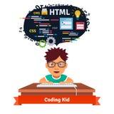 El niño está aprendiendo diseño web y la codificación stock de ilustración