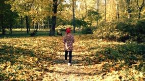 El niño está caminando a lo largo de Autumn Path Slowmotion almacen de metraje de vídeo
