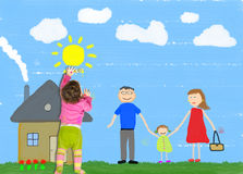 El niño está dibujando a la familia feliz Fotos de archivo libres de regalías