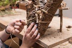 El niño está haciendo un pesebre en ramas y el musgo para la Navidad fotografía de archivo libre de regalías