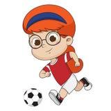 El niño golpea una bola con el pie ilustración del vector