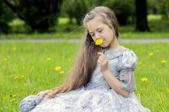 El niño goza de las flores en el parque Foto de archivo