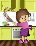 El niño goza el cocinar ilustración del vector