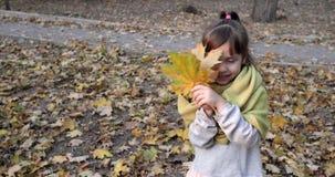 El niño hermoso en bufanda caliente juega con la hoja del amarillo del arce en el fondo del follaje del otoño almacen de video