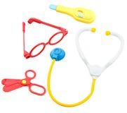 El niño juega el sistema de herramienta del equipamiento médico Imágenes de archivo libres de regalías