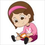 El niño lindo leyó un libro para el exame libre illustration