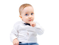 El niño lindo mira cuidadosamente Fotografía de archivo libre de regalías