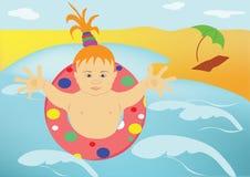 El niño, mar, playa Fotografía de archivo