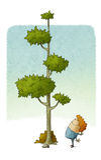 El niño mira cómo un árbol crece stock de ilustración