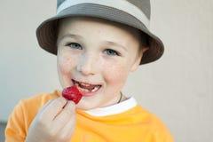 El niño pequeño agradable con las pecas que desgastan un sombrero Fotografía de archivo libre de regalías