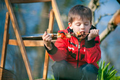 El niño pequeño con placer come vehículos asados a la parilla Fotografía de archivo libre de regalías