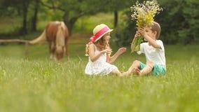 El niño pequeño da un ramo de flores salvajes a una muchacha Cámara lenta metrajes