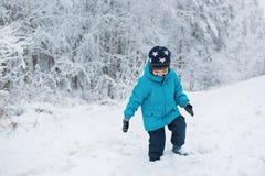 El niño pequeño lindo camina en una nieve en el invierno Foto de archivo