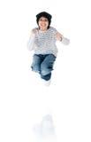 El niño pequeño lindo salta Fotos de archivo