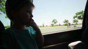 El niño pequeño mira a través del coche de la ventana abierta almacen de video
