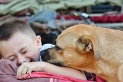 El niño pequeño sonriente se está divirtiendo con el perro agradable como los mejores amigos Imágenes de archivo libres de regalías