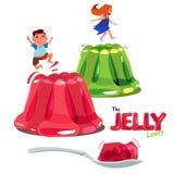 El niño que salta o que juega en la jalea colorida concepto del amante de la jalea L ilustración del vector