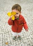 El niño sonriente cubre su cara con la hoja del otoño Foto de archivo