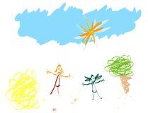 El niño tiene gusto de drenar stock de ilustración