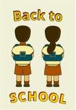 El niño trae el bolso 7 ilustración del vector