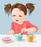 El niño y la nutrición, la niña linda y la comida miden el tiempo, comen, comida, comida, bebida, niño, vida sana stock de ilustración