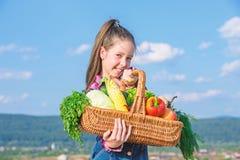 El ni?o alegre celebra la cesta de las verduras del d?a de fiesta de la cosecha Concepto del festival de la cosecha Ni?ez en camp imagenes de archivo
