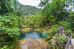 El Nicho waterfall, located in the Sierra del Escambray mountains not far from Cienfuegos stock images