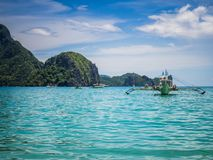 El Nido bay, Philippines, with boats royalty free stock photo