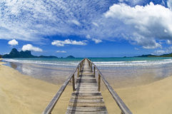 El nido beach jetty. A wooden jetty on a beach close to el nido in palawan in the philippines Stock Image