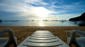 El Nido beach with recliner Royalty Free Stock Images